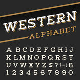 Western style retro alphabet vector font. Royalty Free Stock Image