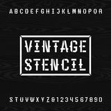 Western style retro stencil alphabet vector font. Royalty Free Stock Photo