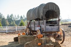 Western style retro wagon on a farm stock photography