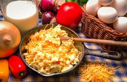Western Style  Scrambled Eggs Royalty Free Stock Photography