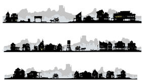 Western style silhouette buildings. Set of western style silhouette buildings with old stagecoach Stock Photo