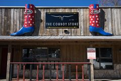 Western style store front. January 7, 2016 Bandera, Texas, USA: western style store front in the small historic cowboy town Stock Photos