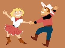 Western swing. Cartoon couple dancing western swing, EPS 8 vector illustration Stock Image