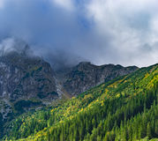 Eastern Tatra Mountains. Mount Mnich (Monk) covered in clouds, Eastern Tatra Mountains, Poland Royalty Free Stock Images