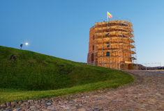 Western tower of Upper Castle in Vilnius (Lithuania) under restoration Stock Photography