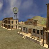 Western town. 3d render of western town royalty free illustration