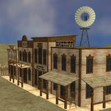 Western town. 3d render of western town stock illustration