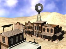 Western town. 3d render of cartoon character in western town stock illustration