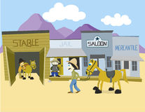 Western Town. Vector illustration of a western town Royalty Free Stock Photos
