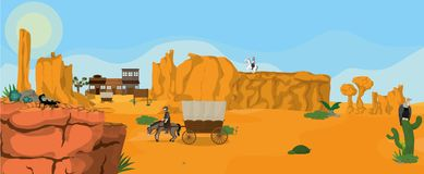 Western town landscape. Western town on desert with cowboy on horse vector illustration graphic design vector illustration