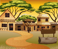 Western town with road and buildings. Illustration vector illustration