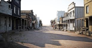 Western town road with various businesses and Depth of field . 3d rendering Stock Images