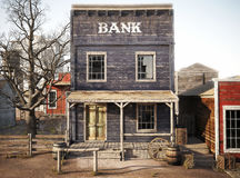 Western town rustic bank. 3d rendering royalty free illustration