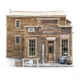 Western town rustic general store on an isolated white background. 3d rendering royalty free stock photo
