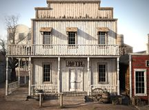 Western town rustic hotel. vector illustration
