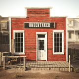 Western town rustic undertaker. 3d rendering . Part of a Western town series Stock Images
