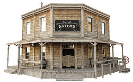 Western town saloon on an isolated white background. 3d rendering royalty free illustration
