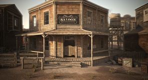 Western town saloon with various businesses . Western town saloon with various businesses in an old rustic setting . 3d rendering royalty free illustration