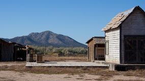 Western town setting. View of a western town in the mountains of New Mexico stock photos