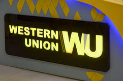 Western Union Emblem, Emporium Mall Lahore Pakistan on 6th May 2017. Western Union WU Royalty Free Stock Photos