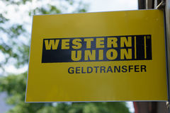 Western union logo. Hamburg, Germany - August 11: the logo of the brand Western Union on August 11, 2014 Hanburg - Geldtransfer Royalty Free Stock Photos