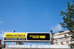 Western Union logo on their main exchange office for Belgrade. The Western Union Company is an American financial services company. Picture of the Western Union stock photo