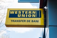 Western Union in Romania  Stock Photo