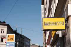 Western union. Sign on a building with copy space to the left Stock Photography