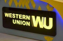 Western Union symbolisent, mail Lahore Pakistan de centre commercial le 6 mai 2017 Photos libres de droits