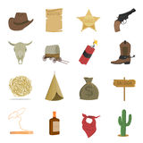 Western 16 vector icons set in cartoon style. Royalty Free Stock Photography