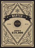 Western vintage frame antique label wanted retro hand drawn Royalty Free Stock Image