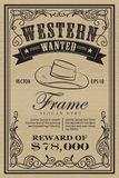 Western vintage frame label wanted retro hand drawn vector Royalty Free Stock Photography
