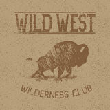 Western vintage label with bison. Typography design for t-shirts Stock Photos