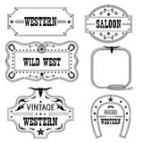 Western vintage labels isolated on white for design Stock Images