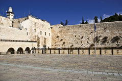 The western wall. (The Buraq Wall) is located in the Old City of Jerusalem at the foot of the western side of the Temple Mount. It is a remnant of the ancient Royalty Free Stock Photography