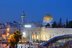 Western Wall and Dome of the Rock. The Western Wall, also known at the Wailing Wall, is the remnant of the ancient wall that surrounded the Jewish Temple's Royalty Free Stock Image