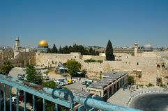 Western Wall, Dome of the Rock and Aksa Mosque - 2004. A view of the Western Wall, the Dome of the Rock and the Al Aksa Mosque in Jerusalem, 2004, from the stock photos