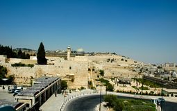 Western Wall, Dome of the Rock and Aksa Mosque - 2004. A view of the Western Wall, the Dome of the Rock and the Al Aksa Mosque in Jerusalem, 2004, from the royalty free stock images