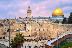 Western Wall and The Dome of the Rock, Jerusalem, Israel. The Western Wall and the golden Dome of the Rock in Jerusalem, Israel, on sunset Royalty Free Stock Photos