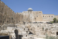 Western Wall Excavations with al-aqsa mosque Stock Photography