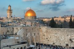 Western Wall and golden Dome of the Rock in Jerusalem Old City, Israel. A view of Temple Mount in the old city of Jerusalem, including the Western Wall and stock images