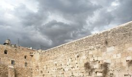 Western Wall in Jerusalem on Grey Cloudy Day royalty free stock images