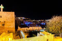 The Western Wall of Jersusalem by Night. Jerusalem, Israel. June 5 2013. Impression of the Old Temple Wall, plus Exavations in Old Jerusalem stock images
