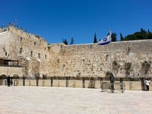 Western Wall in Jerusalem at day time and blue sky. stock image