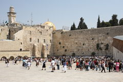 Western Wall, Jerusalem, Israel. The Western Wall in Jerusalem, with many people visiting this most holy Jewish place Royalty Free Stock Photo
