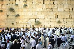 Western Wall, Kotel, Wailing wall Jerusalem on Yom Kippur, Jews gathering for prayer ISRAEL stock image