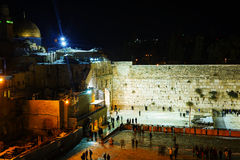 The Western Wall in Jerusalem, Israel in the night Stock Images