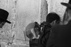 Western Wall, Jerusalem, Israel, 03.04.2015, Western Wall Jerusalem Solider border post praying enthusiastically stock photography