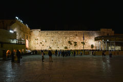 The Western wall Jerusalem, night view. The Western Wall Ha-Kotel Ha-Ma`aravi in Jerusalem is the holiest of Jewish sites, sacred because it is a remnant of the Stock Photography