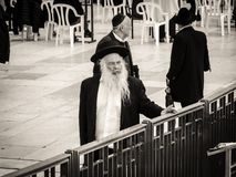Orthodox Jews at Western Wall in Jerusalem Royalty Free Stock Image